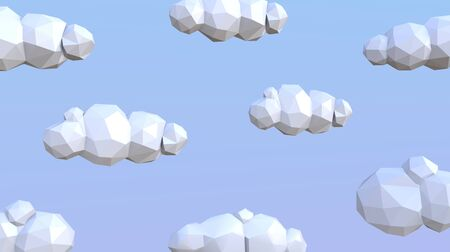 Low poly 3d clouds on blue background. Stok Fotoğraf
