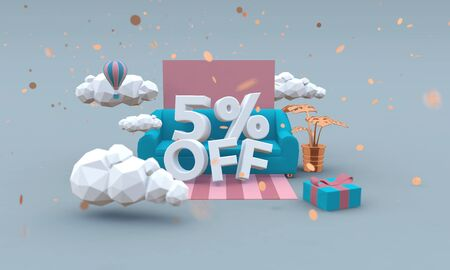 5% off 3d illustration in cartoon style. Discount concept.