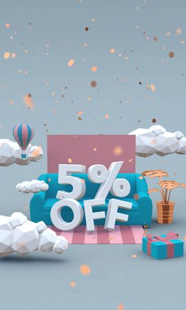 5% off 3d render in soft colors. Discount concept. 写真素材