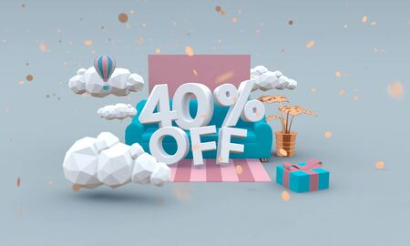 40% percent off 3d design in cartoon style. Sale concept.