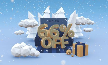 66 sixty six percent off 3d illustration in cartoon style. Christmas clearance or winter sale concept.