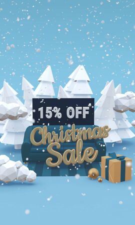 Christmas sale 15 fifteen percent off 3d illustration in cartoon style. Vertical image with copy space.