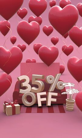 35 Thirty five percent off - Valentines Day Sale 3D illustration. Vertical banner with copy space.