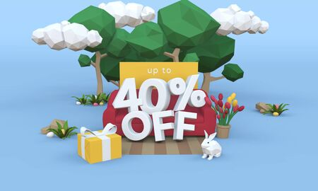 40 Forty percent off - Easter Sale 3D illustration. Archivio Fotografico