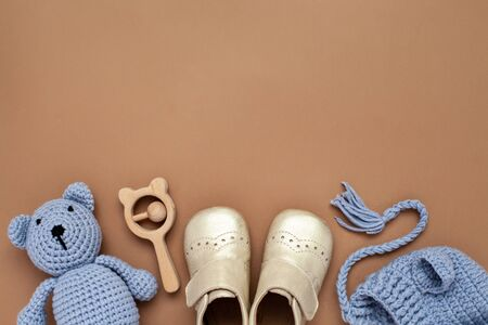 Flat lay composition with baby accessories set Archivio Fotografico