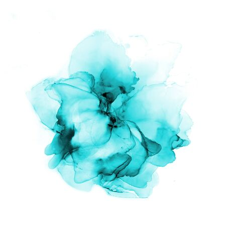Delicate hand drawn watercolor flower in turquoise tones. Alcohol ink art. Raster illustration.