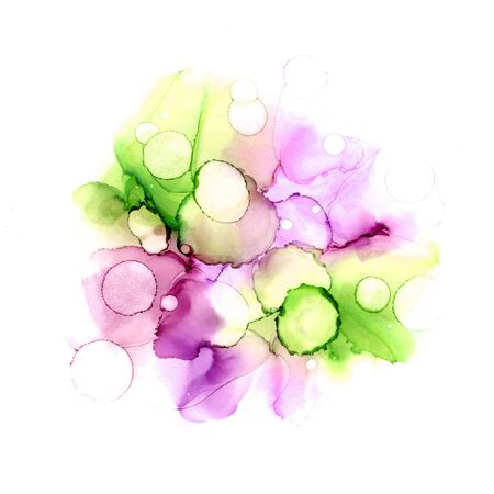 Abstract colorful watercolor or alcohol ink background in violet and green colors. Archivio Fotografico