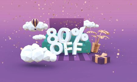 80 Eighty percent off 3D illustration in cartoon style. Clearance, sale, discount concept. Archivio Fotografico
