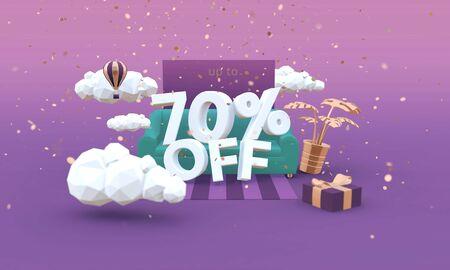 70 Seventy percent off 3D illustration in cartoon style. Clearance, sale, discount concept. Archivio Fotografico