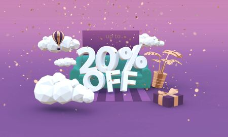 20 Twenty percent off 3D illustration in cartoon style. Clearance, sale, discount concept.