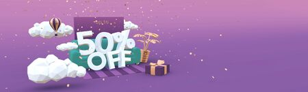 50 Fifty percent off 3D illustration banner in cartoon style. Clearance, discount, sale concept.
