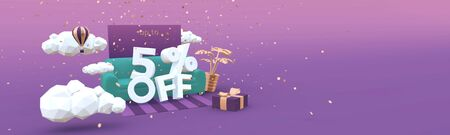 5 Five percent off 3D illustration banner in cartoon style. Clearance, discount, sale concept.