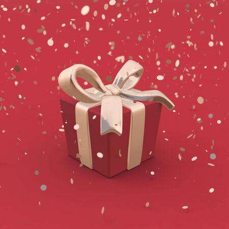 Beautiful gift box with golden bow and ribbons on red backgound with falling confetti. Low poly 3D illustration in trendy style. Elegant gift for man concept. Perfect for polygraphy and web design.