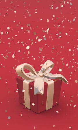 Beautiful gift box with golden bow and ribbons on red backgound with falling confetti. Low poly 3D illustration in trendy style. Elegant gift concept. Vertical poster. Perfect for polygraphy and web design.