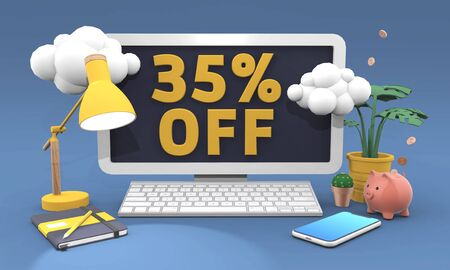 35 Thirty five percent off 3d illustration in cartoon style. Online shopping Sale concept.