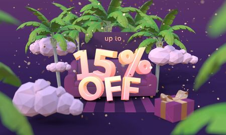 15 Fifteen percent off 3D illustration in cartoon style. Summer clearance, sale, discount concept.