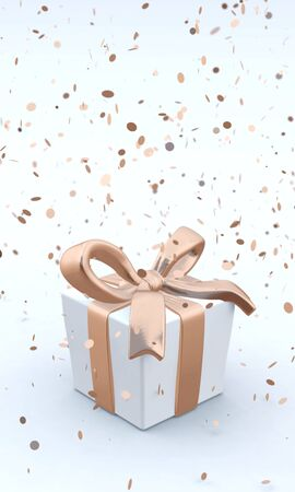 3D illustration of beautiful gift box with golden bow and ribbons on white backgound with falling confetti.