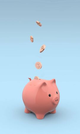 3D illustration of pink piggy bank on blue background with coins falling into slot. Archivio Fotografico