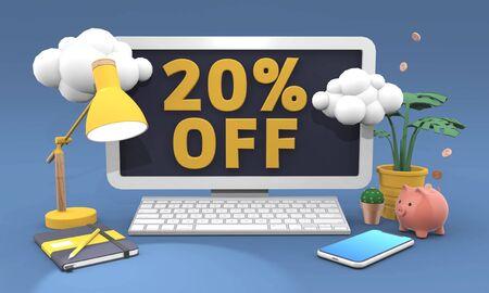 20 Twenty percent off - 3D illustration in cartoon style. Online shopping sale concept.