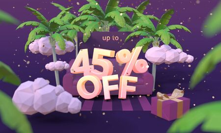 45 Forty five percent off 3D illustration in cartoon style. Summer clearance, sale, discount concept. Archivio Fotografico