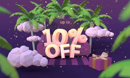 10 Ten percent off 3D illustration in cartoon style. Summer clearance, sale, discount concept.