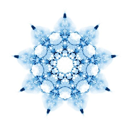 Delicate watercolor snowflake pattern isolated on white background.