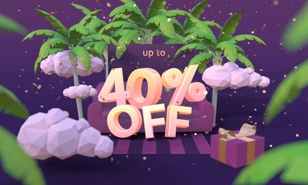 40 Forty percent off 3D illustration in cartoon style. Summer clearance, sale, discount concept.