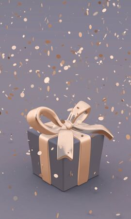 Beautiful gift box with golden bow and ribbons on grey background, falling confetti. 3D illustration. Vertical poster. Archivio Fotografico