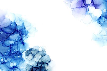 Delicate abstract hand drawn watercolor background in blue tones. Raster illustration - border with copy space.