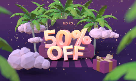 50 Fifty percent off 3D illustration in cartoon style. Summer clearance, sale, discount concept. Archivio Fotografico
