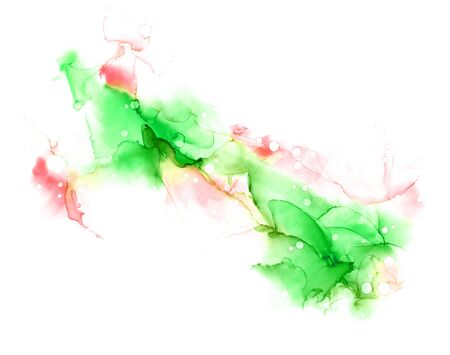 Delicate spring abstract hand drawn watercolor or alcohol ink background in green and red tones. Raster illustration. Archivio Fotografico