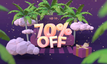 70 Seventy percent off 3D illustration in cartoon style. Summer clearance, sale, discount concept. Archivio Fotografico