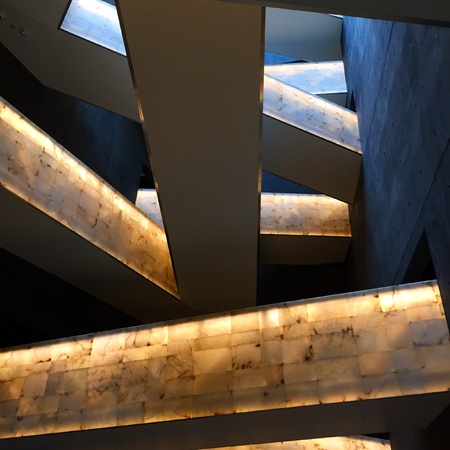 slanted: The slanted stair case in the human rights museum in Winnipeg Manitoba. Stock Photo
