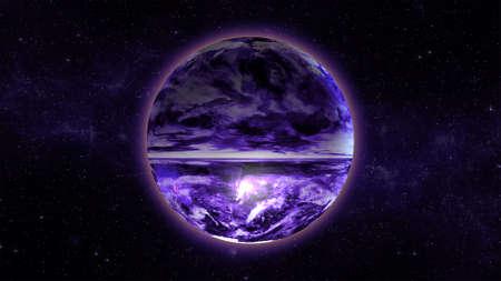 unexplored: Fantastic space background with unexplored futuristic purple planet, stars and nebulas Stock Photo