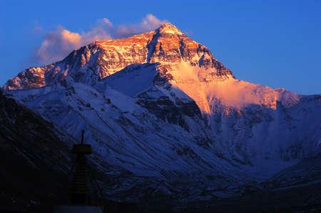 mountain peaks: Mount Everest at sunset Stock Photo
