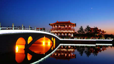 historical landmark: Landscape of historical buildings in Xian China