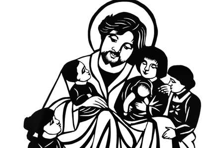Jesus with children in black-and-white photo