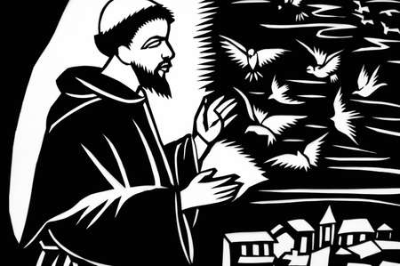 Paper-cutting of Jesus with doves in black-and-white Stock Photo - 8467025