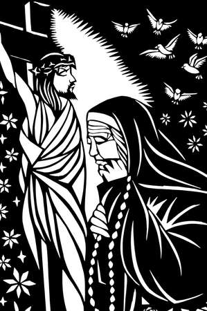 Paper-cutting of Jesus with an old sister in black-and-white photo