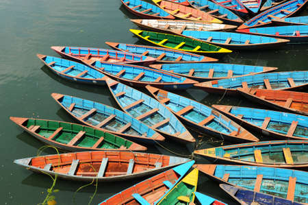 tour boats: Landscape of colorful tour boats in a lake Stock Photo