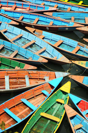 View of colorful tour boats for fun photo
