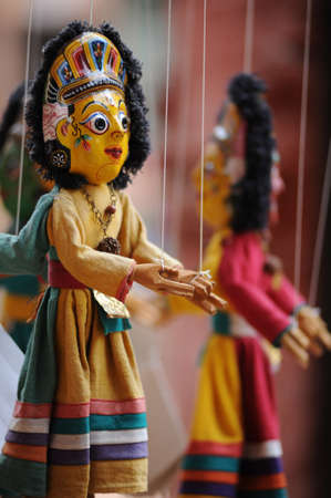 Jointed puppet manipulated from above by strings or wires attached to its limbs,nice souvenir in Kathmandu,Nepal.  photo