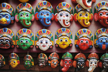 View of piles of colorful masks in Kathmandu Nepal photo