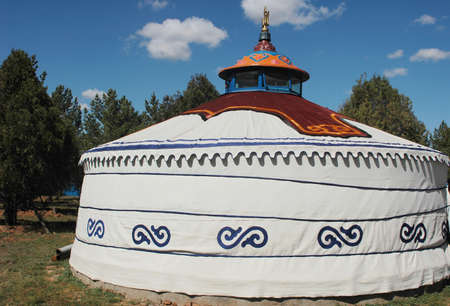 ger: Scenery of a typical Mongolian ger on the grasslands