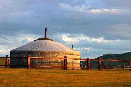 Scenery of a typical Mongolian ger on the grasslands photo