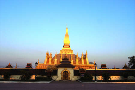 mekong: Wat That Luang the most famous temple in Vientiane,the Laos(Pha That Luang, Laos)