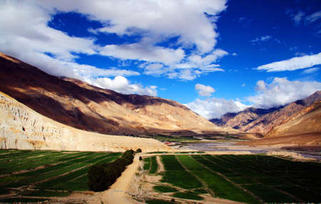 Landscape of fields and mountains in the highlands of Tibet photo