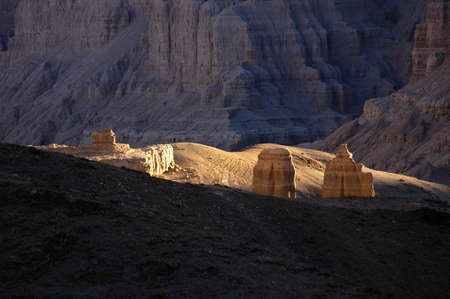 Landscape of the earth forest at sunset in Tsada County of Ngari Prefecture, western Tibet. photo