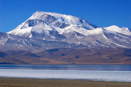 Landscape of snow mountains and blue lake in Tibet photo