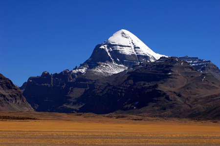Landscape of the famous holy Mount Kailash in Tibet Stock Photo